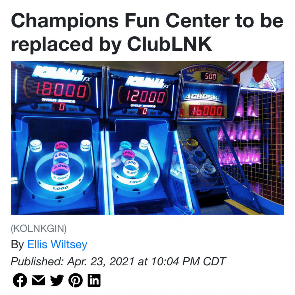 Champions Fun Center to be replaced by ClubLNK