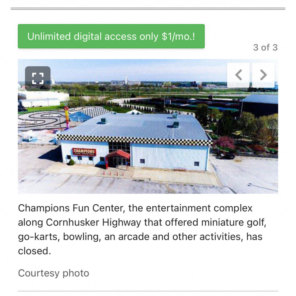 Champions Fun Center in Lincoln is closed permanently